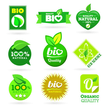 Set of organic-bio icons on the white background.