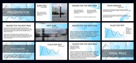 Black, blue gradient, elements on white and gray background. Business Marketing advertising presentation template, annual report, flyer banner. Illustration