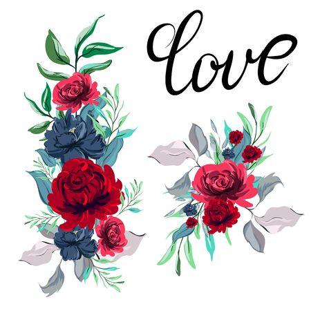 watercolor flower arrangements, wreath decorating design. greeting cards banner print invitation. Illustration
