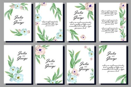 invitation floral templates, frames, greeting cards, imitation of watercolor painting on white background, gentle roses print banners. composition design.