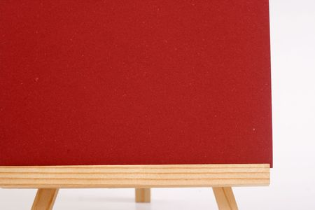 red cardboard with wood frame