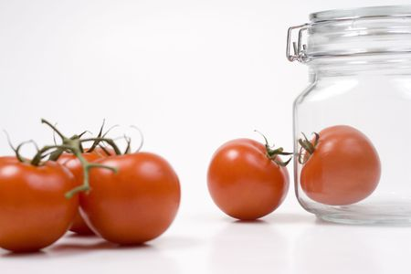 Tomatoes in a jar Stock Photo