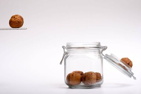 Walnut jumping in a jar
