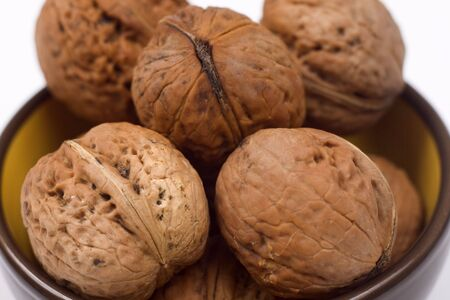 Walnuts in a bowl Stock Photo