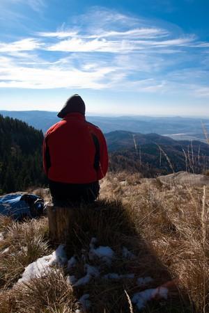 sere: Tourists on mountain top Stock Photo