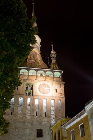 night viev: night viev of a street in sighisoara romania