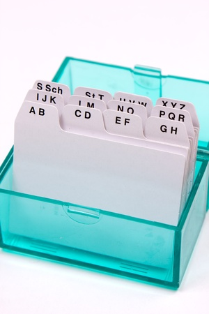 detail of a green organizaer box, with letter hierarchy photo