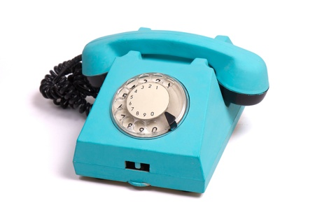 old phone: old fashion blue phone isolated on white with round dialing
