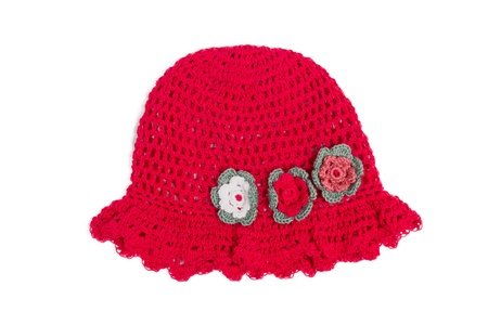 nice red hat for little girl with flowers decorations