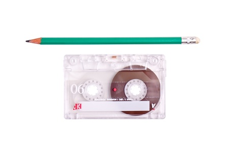 concept of winding a casette tape with a pencil photo