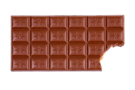bitten: bitten chocolate bar isolated on white