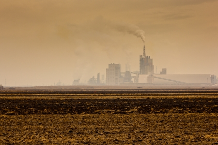 fertilizer mill polluting the atmosphere with smoke and smog in mures county, romania