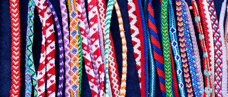 Detail of a variety of romanian traditional friendship bracelets