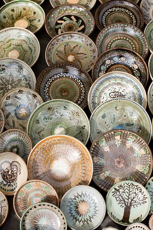 Detail of traditional romanian colored pottery