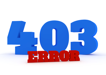 3d red and blue text 403 error on white background photo