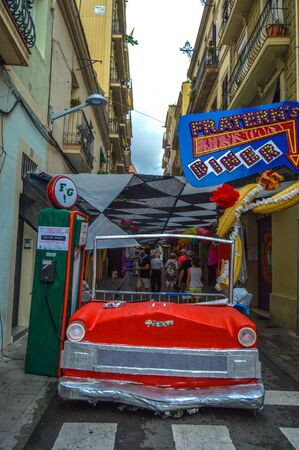 Fiesta Major de Gracia, Carrer Fraternitat de dalt, Barcelona, Spain - August 2019. Decorated streets of Gracia district. Editorial