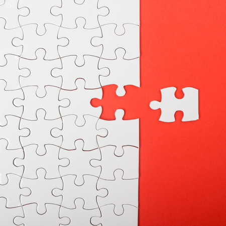 Missing jigsaw puzzle pieces. Business concept. Compliting final puzzle task