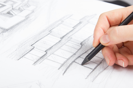 blueprint house: Architect working on blueprint. Architects workplace - architectural project, blueprints, ruler, calculator, laptop and divider compass. Construction concept. Engineering tools.