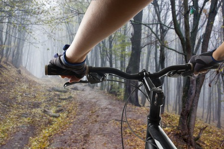 handlebar: Hands in gloves holding handlebar of a bicycle. Mountain Bike cyclist riding single track. Healthy lifestyle active athlete doing sport.