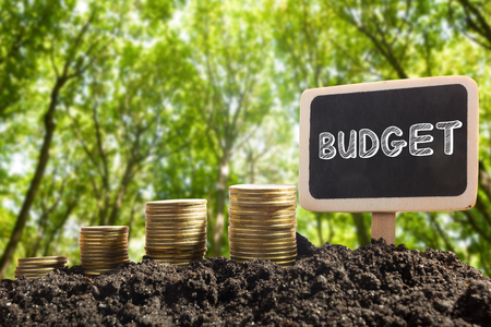 taxable: Time is money financial opportunity concept. Golden coins in soil with Chalkboard with Budget word on blurred urban background Stock Photo