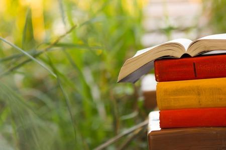 Stapel des Buches und Open Hardcover-Buch auf verschwommen Natur Landschaft Hintergrund. Kopieren Sie Raum, zurück zur Schule. Bildungshintergrund.
