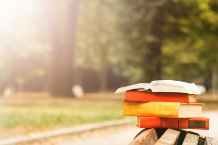 literatura: Pila de libros de tapa dura y libro abierto que miente en banco en el parque de la puesta del sol contra la naturaleza telón de fondo difuminado. Espacio en blanco, de vuelta a la escuela. Antecedentes educacionales