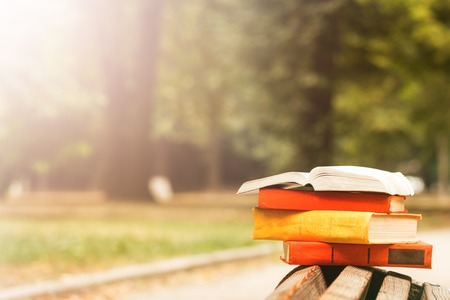 bible: Stack of hardback books and Open book lying on bench at sunset park against blurred nature backdrop. Copy space, back to school. Education background
