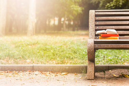 Stack of hardback books and Open book lying on bench at sunset park against blurred nature backdrop. Copy space, back to school. Education background