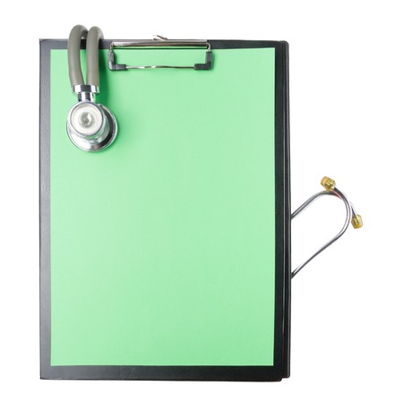 medical clipboard: Medical clipboard and stethoscope isolated on white background. Concept of Healthcare And Medicine.