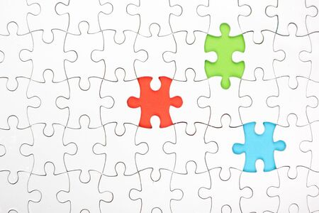 missing link: Missing jigsaw puzzle pieces. Business concept. Compliting final puzzle task