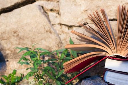 hardback: Stack of books and Open hardback book on blurred nature landscape backdrop. Copy space, back to school. Education background