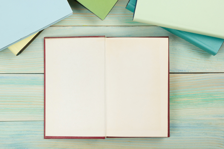 business book: Open book with blank pages on textured wood background. Copy space.