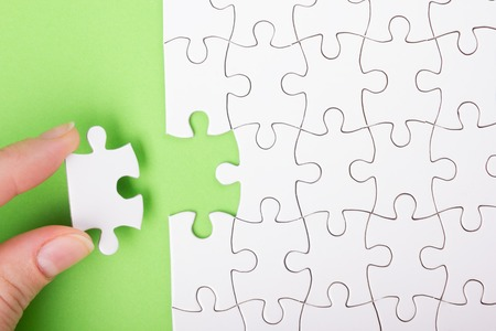 missing: Missing jigsaw puzzle pieces. Business concept. Compliting final puzzle task