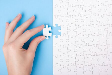 puzzle business: Missing jigsaw puzzle pieces. Business concept. Compliting final puzzle task