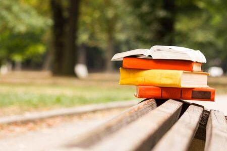 hardback: Stack of hardback books and Open book lying on bench at sunset park against blurred nature backdrop. Copy space, back to school. Education background