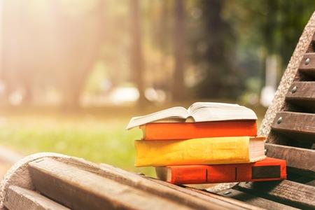두꺼운 표지의 책 책과 흐리게 자연을 배경으로 일몰 공원에서 벤치에 누워 책의 스택입니다. 다시 학교로, 공간을 복사합니다. 교육 배경