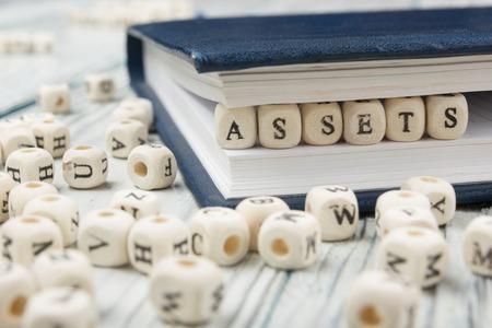 assets word written on wood block. wooden abc