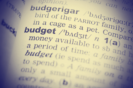 pronounce: Close-up of the word  budget in a dictionary