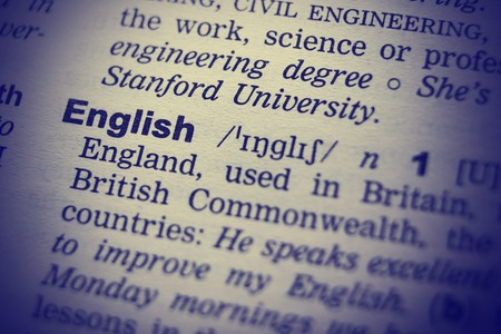 pronounce: Definition of word English in dictionary. Macro shot.