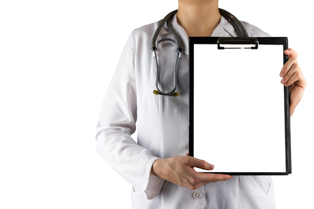 doctor s smock: Female doctors hand holding medical clipboard with blank sheet of paper and stethoscope isolated on white background. Concept of Healthcare And Medicine. Copy space Stock Photo
