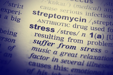 Dictionary definition of the word Stress. Toned Image