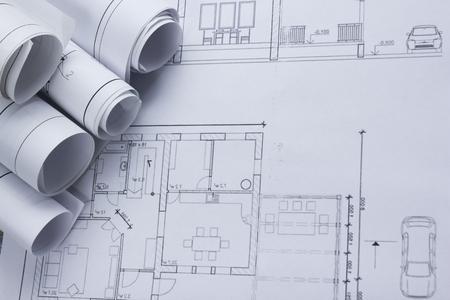 Architekt Worplace Draufsicht. Architektonisches Projekt, Pläne, Entwurf  Rollt Auf Pläne. Bau