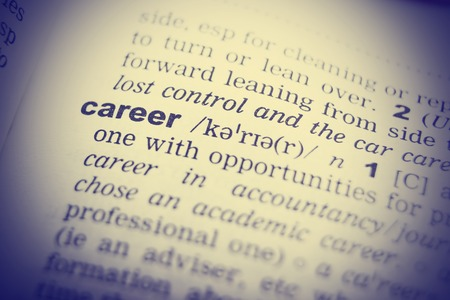 transcription: Close-up of word in English dictionary. Career, definition and transcription.