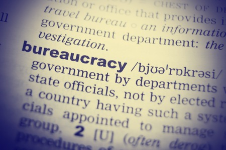 English dictionary: Bureaucracy Word Definition In English Dictionary Close Up.