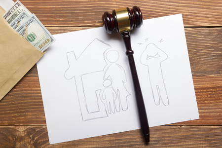 family law: Family law concept. Divorce section of the property by legal means.