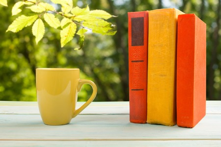 fanned: Stack of colorful books and cup on wooden table on natural blurred background. Back to school. Copy space. Stock Photo