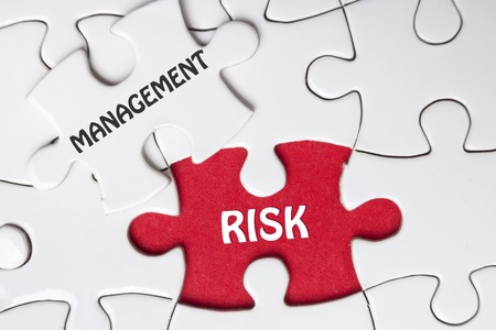 success risk: Risk Management. Missing jigsaw puzzle pieces with text