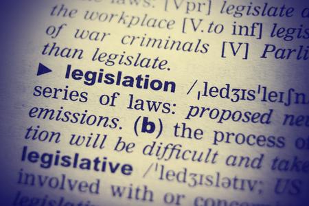 Definición del diccionario de la palabra La legislación en Inglés. viñetas de efecto Foto de archivo - 54044132