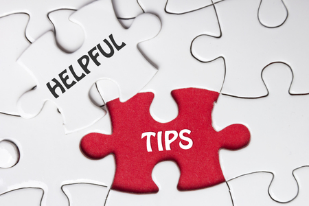 missing piece: Helpful Tips. Missing Piece Jigsaw Puzzle with word.