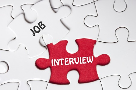 joblessness: JOB Interview. Missing Piece Jigsaw Puzzle with word.